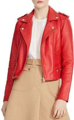 Maje Basalt Leather Motorcycle Jacket