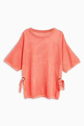 Next Womens Orange Stitchy Tie Side Sweater
