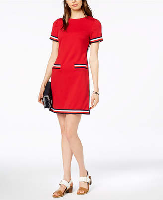 Tommy Hilfiger Striped-Trim Dress, Created for Macy's