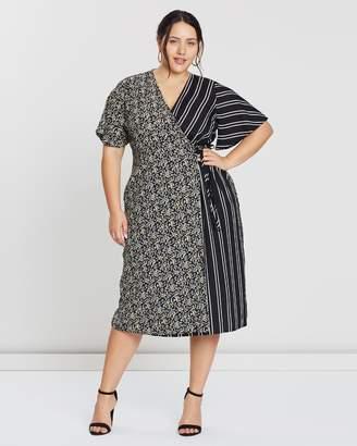 Floral & Stripe Mix Print Dress