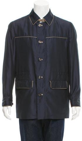 BrioniBrioni Leather-Trimmed Lightweight Jacket