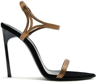 Saint Laurent Ourika & Talitha leather-trim velvet sandals