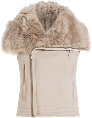 Rick Owens Leather and Shearling Asymmetric Vest