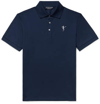 Slim-Fit Embroidered Cotton-Pique Polo Shirt