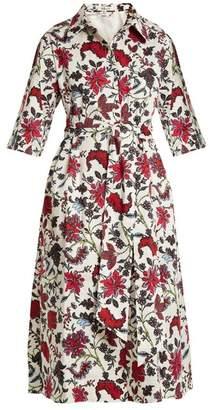Diane von Furstenberg Canton Print Stretch Cotton Dress - Womens - White Print