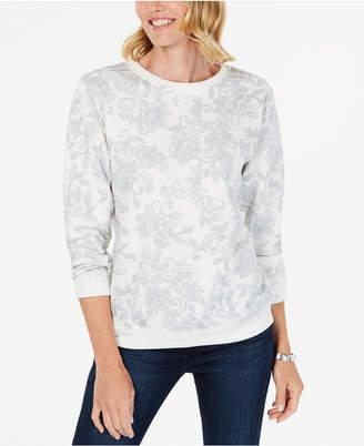Karen Scott Petite Printed Long-Sleeve Sweatshirt