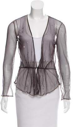 Rozae Nichols Embellished Sheer Cardigan
