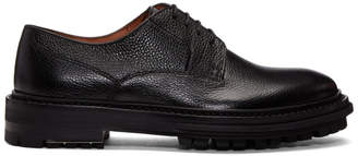 Lanvin Black Grained Leather Derbys