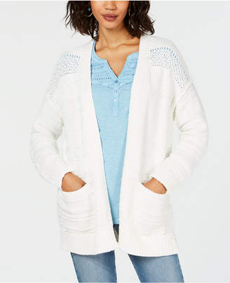 Style&Co. Style & Co Open-Front Pointelle-Knit Cardigan