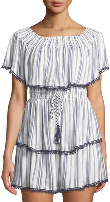 The Jetset Diaries Aries Off-Shoulder Striped Minidress