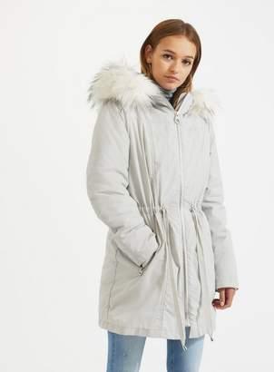 Miss Selfridge Silver 3 in 1 parka coat