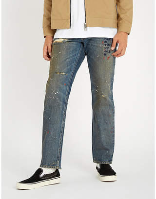 REESE COOPER Distressed relaxed-fit straight jeans