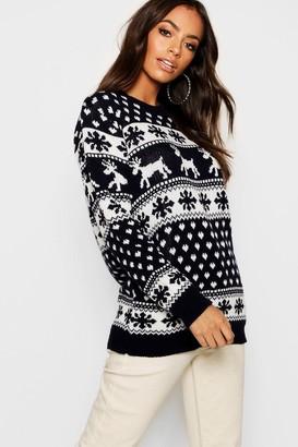 boohoo Reindeer & Snowflake Christmas Jumper