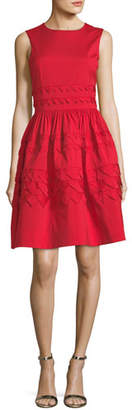 Oscar de la Renta Sleeveless Embroidered Fit-and-Flare Day Dress