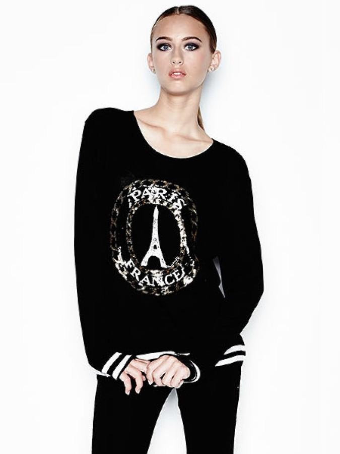 Lauren Moshi Barb Sequin Paris Pullover with Contrast Cuff