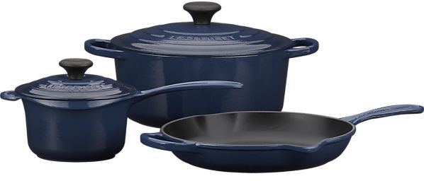 """Le Creuset 5-Piece Ink Cookware Set: 1.25 qt. precision pour saucepan with lid, 5.5 qt. round french oven with lid and 10"""" skillet."""