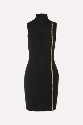 Versace Embellished Ribbed Wool-blend Turtleneck Mini Dress - Black