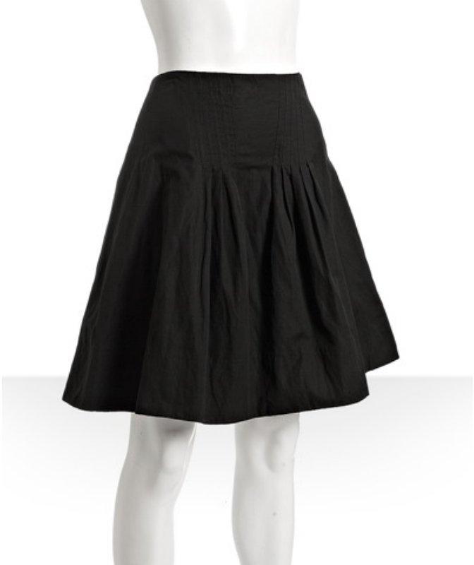 BCBGMAXAZRIA black metallic cotton pleated full skirt