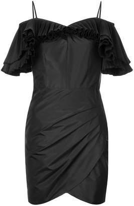 Alessandra Rich Ruffled Off-The-Shoulder Silk-Blend Dress