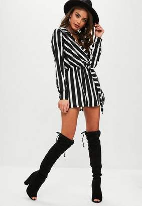 Missguided White Wrap Front Striped Shirt Romper