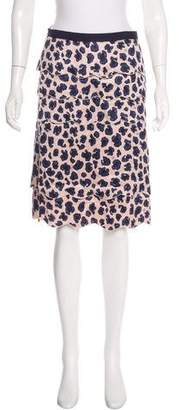 Tory Burch Silk-Blend Leopard Print Skirt w/ Tags