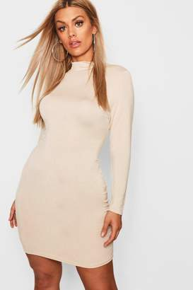 boohoo Plus Jersey Roll Neck Bodycon Dress