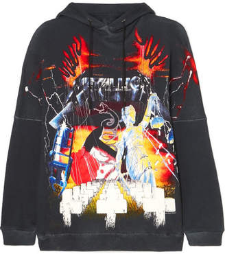 R 13 Oversized Printed Cotton-blend Jersey Hoodie - Black