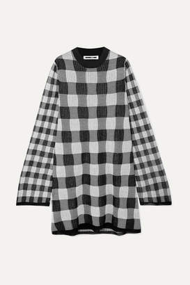 McQ Checked Knitted Mini Dress - Gray