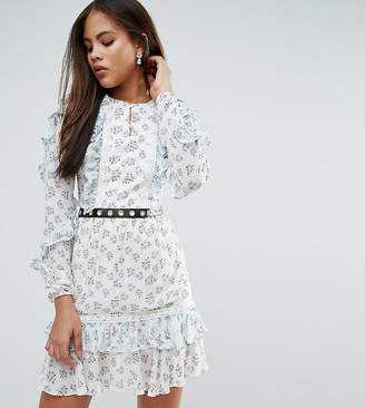 True Decadence Tall Frill Hem Skater Dress With Metal Belt Detail In Ditsy Floral Print