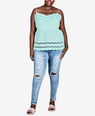 City Chic Trendy Plus Size Cotton Empire-Waist Top