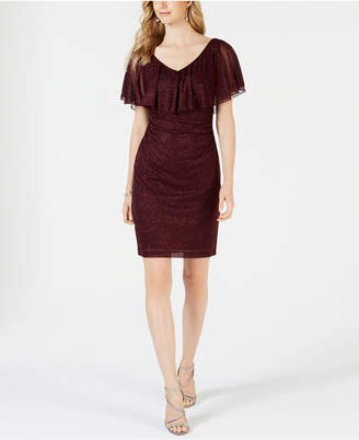 Connected Ruffle-Overlay Glitter Dress