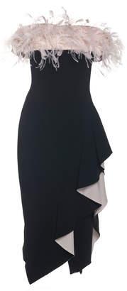 Pamella Roland Ostrich Feather Off-The-Shoulder Crepe Dress