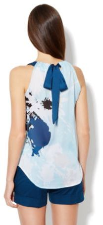 New York & Co. Bow Back Halter- Paint-Drop Print