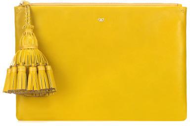 Anya Hindmarch Georgiana Clutch In Yellow Velvet Calf
