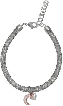 Brilliance+ Brilliance Heart & Moon Mesh Bracelet with Swarovski Crystals