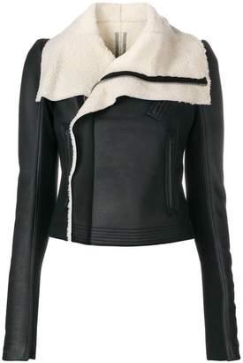 Rick Owens shearling lined biker jacket