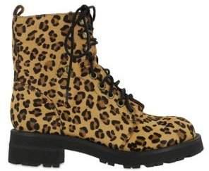 Mia Maverick Leopard Pony-Hair Lace-Up Boots