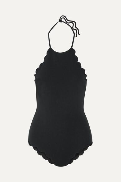 Mott Scalloped Halterneck Swimsuit - Black