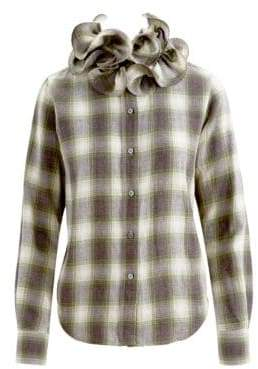 Marc Jacobs Plaid Ruffle Collar Long-Sleeve Shirt