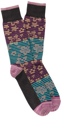 Robert Graham Santino Floral Striped Crew Socks