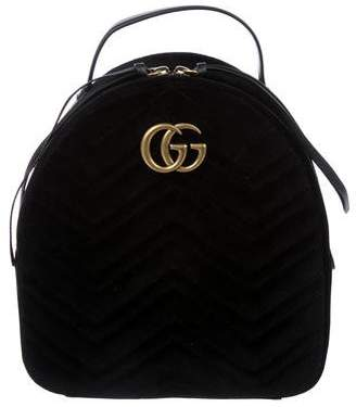 Gucci Velvet Quilted Marmont Backpack