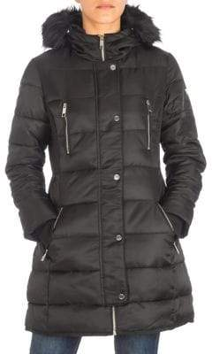 GUESS Satin Faux Fur-Trimmed Puffer Jacket