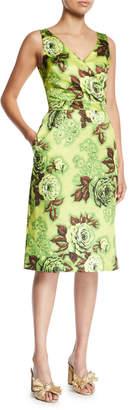 Richard Quinn Sleeveless V-Neck Floral-Print Pencil Dress