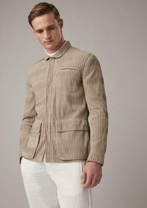 Giorgio Armani Safari Jacket In Pleated Goat Suede