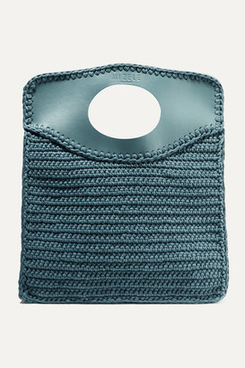 Mizele Business Medium Leather-trimmed Crocheted Cotton Tote