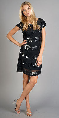 Black Cap Sleeve Sequin Dresses by Nell Couture