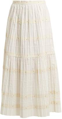 RED Valentino Ric-rac trimmed pleated cotton skirt