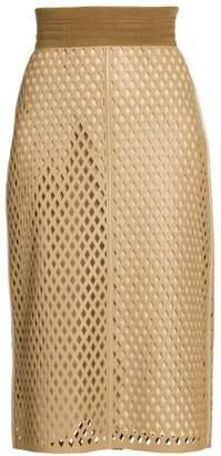 Fendi Leather Mesh Pencil Skirt