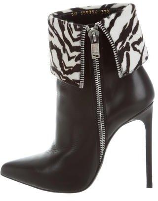 Saint LaurentSaint Laurent Ponyhair-Trimmed Ankle Boots