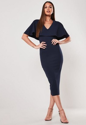 Missguided Navy Cape V Neck Bodycon Midi Dress